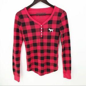 💛 Pink VS Sleep Top Buffalo Plaid Red Black Shirt